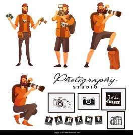 photography studio advertising banner cameramen cameras sketch