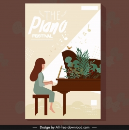 piano concert poster pianist icon colored classical design