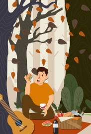 picnic background eating man falling leaves colored cartoon