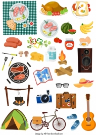 picnic design elements food personal utensils icons