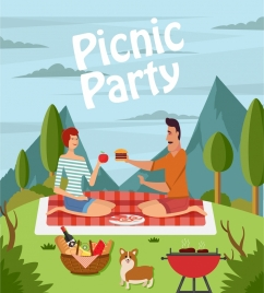 picnic party drawing couple icon colored cartoon design