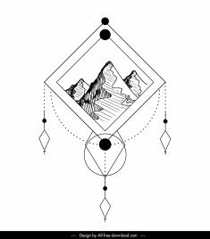 picture tattoo template mountain scene sketch flat classic