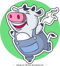 pig icons funny stylized cartoon design