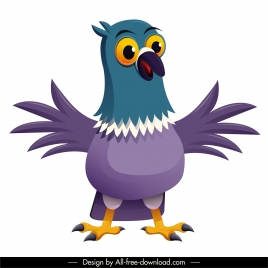 pigeon bird icon cute cartoon character sketch