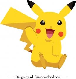 pikachu cartoon character icon cute yellow sketch