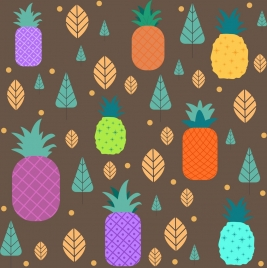 pineapple background colorful flat design repeating icons