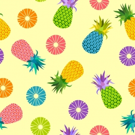 pineapple background multicolored flat decoration