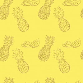 pineapple background yellow handdrawn outline