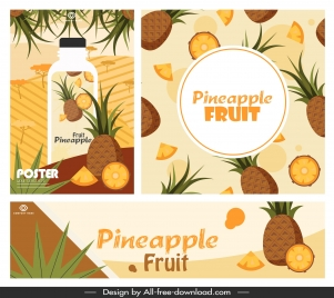 pineapple fruit posters bright colorful classic design