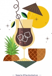 pineapple juice cocktail background multicolored classical flat design