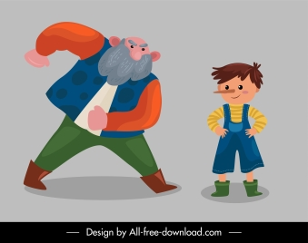 pinocchio picture book icons cartoon characters sketch