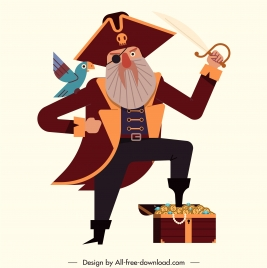 pirate captain icon colored cartoon character sketch