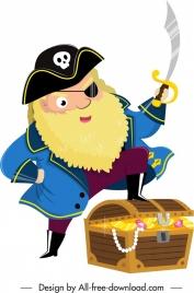 pirate character icon captain treasure sketch cartoon design