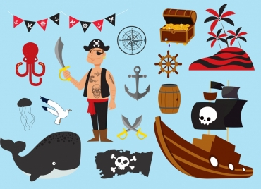 pirate design elements colored cartoon icons