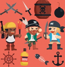 pirate design elements men sword anchor explosive icons