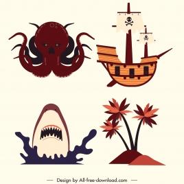 pirate design elements octopus shark ship island sketch