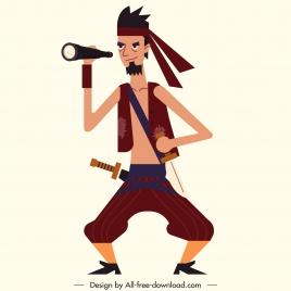 pirate icon man watching binoculars sketch cartoon character
