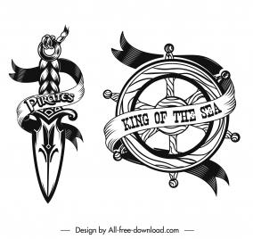 pirate icons black white sword steering wheel sketch