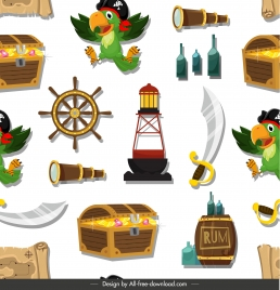 pirate pattern template colorful classic symbols sketch