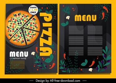 pizza menu template colorful dark design ingredients decor