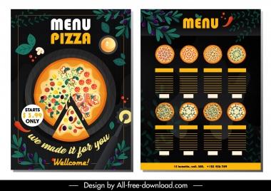 pizza menu template pies ingredients decor dark colorful