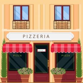 pizza store facade design with italian architecture