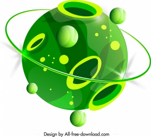 planet icon green holes decor 3d circle design