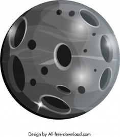 planet icon shiny grey round design