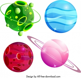 planet icons templates colorful circle shapes decor