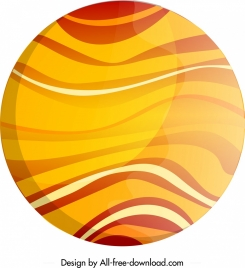 planet painting bright yellow curves ornament flat circle