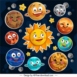 planets icons funny stylized emotional faces sketch