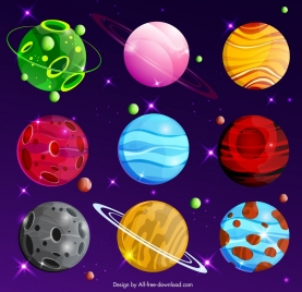 planets universe background colorful modern design
