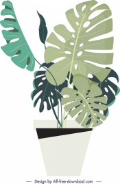 plant background tree pot leaves icons sketch