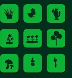 plant design elements various green icon isolation