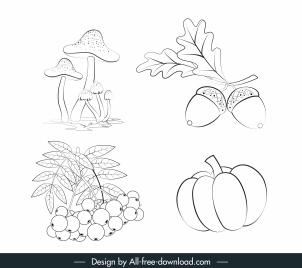 plant icons handdrawn mushroom fruits chestnut sketch