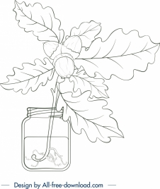plant jar painting leaf chestnut icons handdrawn sketch