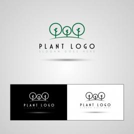 plant logo sets tree icons decoration