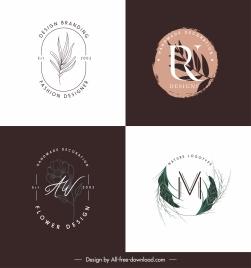 plant logo templates flat retro handdrawn leaf flora