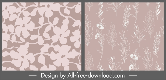 plant pattern flat retro handdrawn flowers sketch