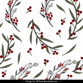 plant pattern template bright colored fruit leaf decor