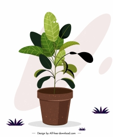 plant pottery icon colored classic sketch