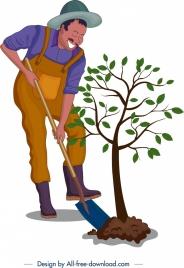 plantation background farmer tree icons cartoon design
