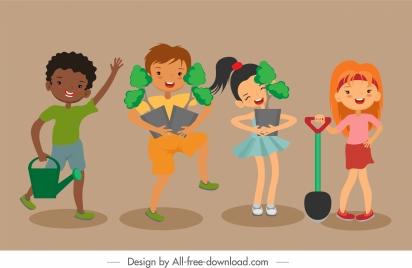plantation background joyful children sketch cartoon characters
