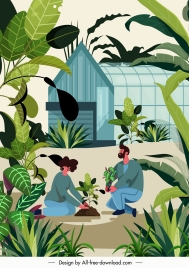 plantation painting green trees glasshouse sketch cartoon design