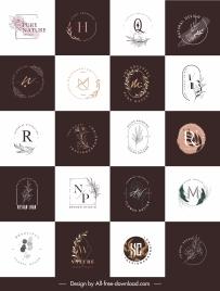 plants logotypes collection elegant flat classic design