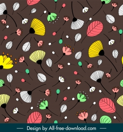 plants pattern template colorful retro handdrawn botany leaf