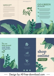 plants shop leaflet template classic leaves decor