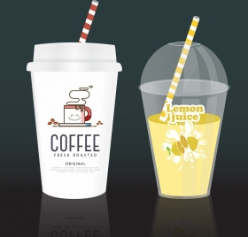 plastic cup icons various realistic colored types