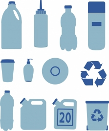 plastic objects icons collection various types flat design