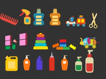 plastic tools icons collection various multicolored flat types
